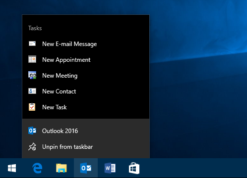 The Jump List Tasks for Outlook allow you to quickly create new items.