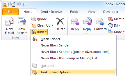 "Location of the ""Junk E-mail Options"" dialog in Outlook 2010."