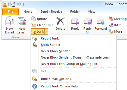 With the Junk E-mail Reporting Tool in Outlook you can report a message with 1 click.