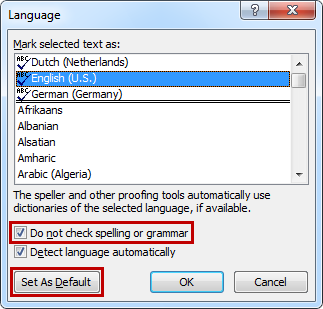"After disabling the option ""Do not check spelling or grammar"" you must press ""Set As Default"" to apply the changes at template level."