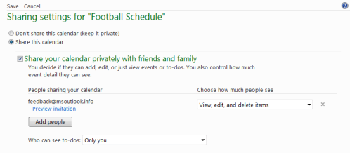 Set permissions on the shared calendar and send invitations by email. (click on image to enlarge)