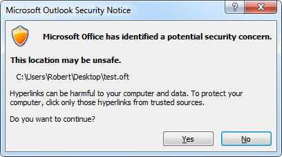 Microsoft Office Outlook Security Notice