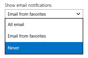 Windows Mail app - Show email notifications - Never
