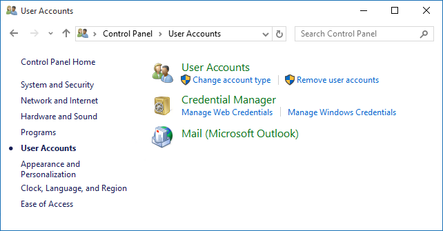 Mail applet in Control Panel