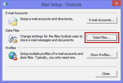 Accessing the list of data files without opening Outlook via the Mail applet.