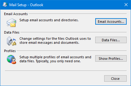 No Mail icon in Control Panel - MSOutlook info