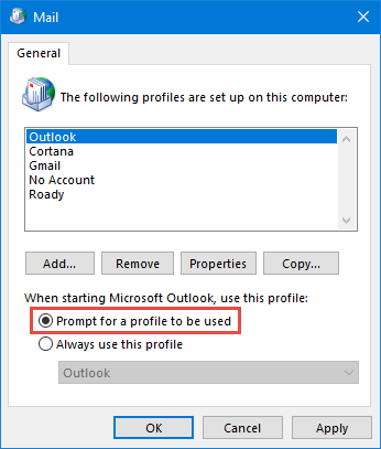 Mail Applet - Prompt for a profile to be used