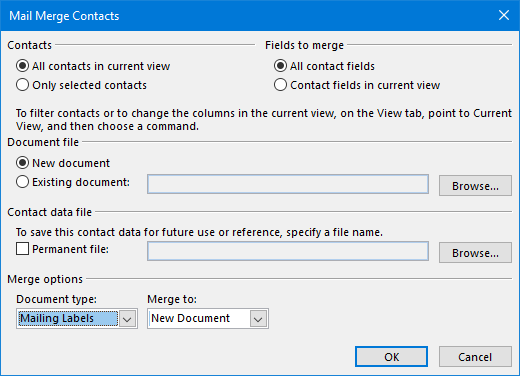 Mail Merge Contacts - Mailing Labels