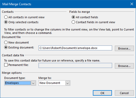 Once you've created a template, you can quickly repeat the merge for any contact. (click on image to enlarge)