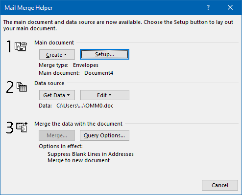 In the Mail Merge Helper dialog, you'll only need to press the Setup… button. (click on image to enlarge)