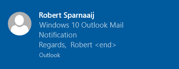 Outlook's New Mail Notification on Windows 10.