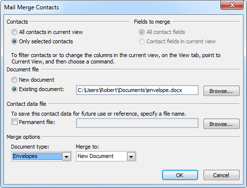 Once you've created a template, you can quickly repeat the merge for any contact.