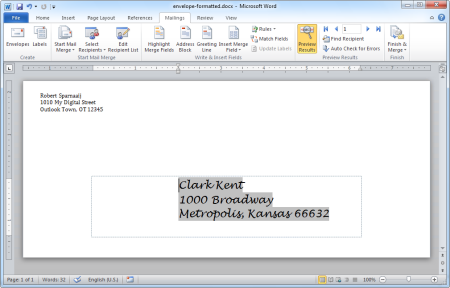 "Envelope addressed with Outlook data via a Mail Merge. You can also see the outline of the ""hidden"" box of step 10. (click on image to enlarge)"
