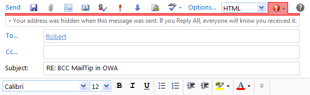 BCC MailTip in Outlook Web App (OWA) on Exchange 2010. (click on image to enlarge)