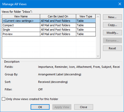 Manage All Views dialog in Outlook.