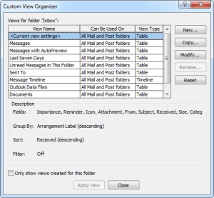 Custom View Organizer in Outlook 2007 (click on image to enlarge)