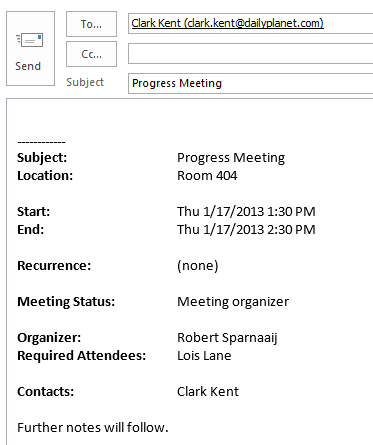 An e-mail containing the meeting details in a nice overview.