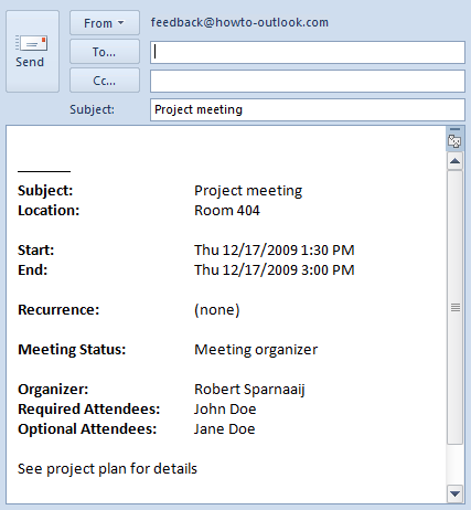 Sending meeting details in email