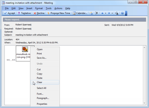 Removing an attachment from a meeting invite is directly available in Outlook 2003. (Click on image to enlarge)