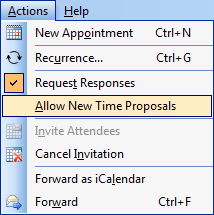 Outlook 2003 - You can prevent the attendees from proposing a new time for the meeting. (click on image for a full menu view)