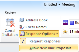 Outlook 2010 - You can prevent the attendees from proposing a new time for the meeting. (click on the image for a full Ribbon view)