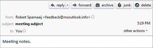 Outlook 2010 Meeting Request received in Mozilla Thunderbird without the EnableMeetingDownLevelText Registry value.
