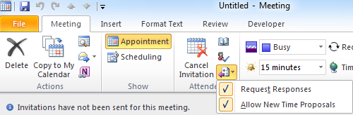 Send meeting requests but don't request responses