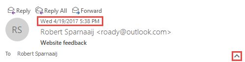 Always show the received day name of a message in the