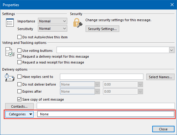 Message Properties dialog - Categories