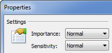 Importance and Sensitivity settings for a message in Outlook 2010.