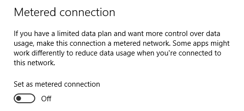 Metered Connection option for Wireless Networks in Windows 10.