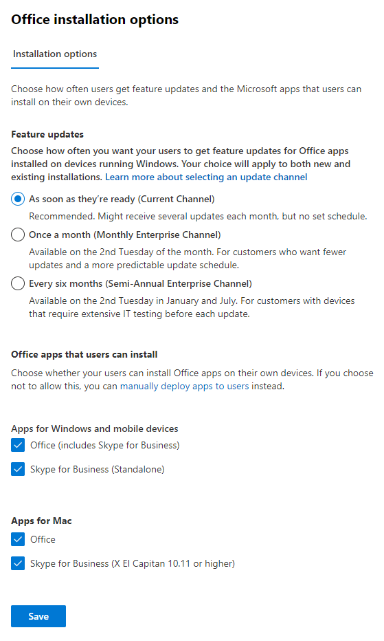 Microsoft 365 Admin Center - Settings - Services - Office software download settings