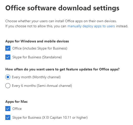 Microsoft 365 Admin Center - Settings - Services & add-ins - Office software download settings