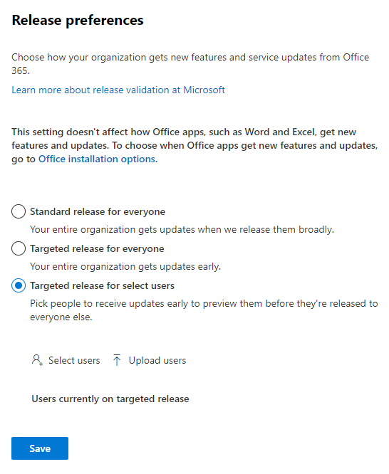 Microsoft 365 Admin Center - Settings - Org settings - Organization Profile - Release preferences