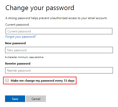 Password expired for Outlook com account - MSOutlook info