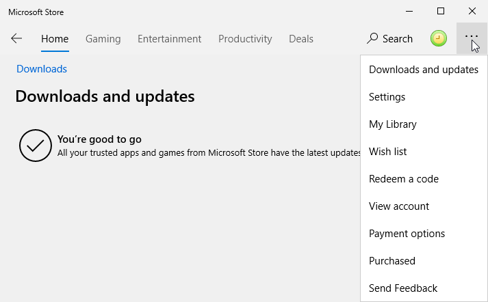 Checking manually for new updates in the Microsoft Store.