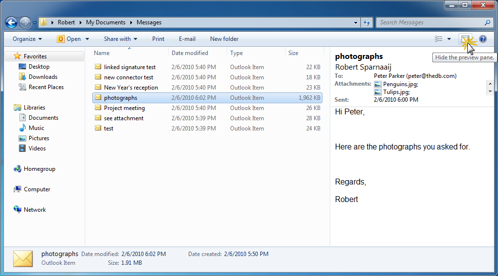Msg-file details in Explorer - MSOutlook info