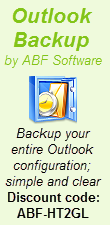 ABF Outlook Backup  - Backup your entire Outlook configuration; simple and clear - Discount code: ABF-1HTJ8