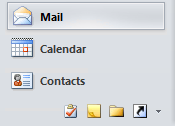 Navigation Bar in Outlook 2010 in a mixed horizontal/vertical state