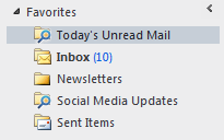 The Favorites section in the Mail Navigation in Outlook 2010.