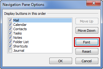 How to increase the font size of outlook 2010 mailbox quota