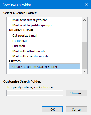 New Search Folder dialog - Create a custom Search Folder