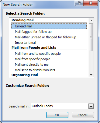 Creating a new Search Folder