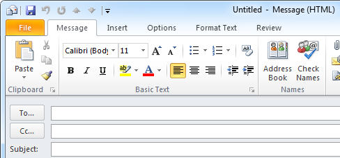 No Send button in Outlook 2010.