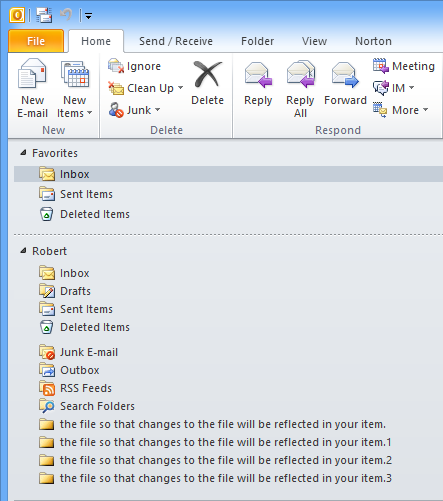 the file so that changes to the file will be reflected in your item. - Norton AntiSpam Outlook Plugin