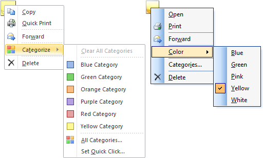 Changing the color of an existing Note while it is closed. On the left, Outlook 2010. On the right; Outlook 2003.