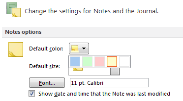 Setting the default color for a new Note in Outlook 2010.