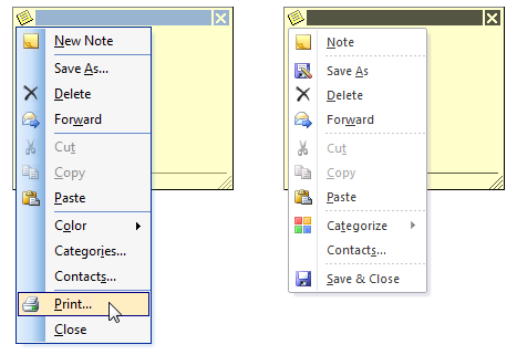 No more Print... option in the menu of an opened Note in Outlook 2010