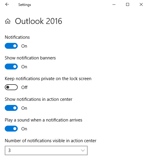 Not getting New Email Alerts on Windows 10 - MSOutlook info