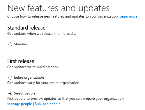 "The Office 365 for Business Admin Center allows administrators to select who will receive early ""Office Insider"" builds via the First Release Channel."